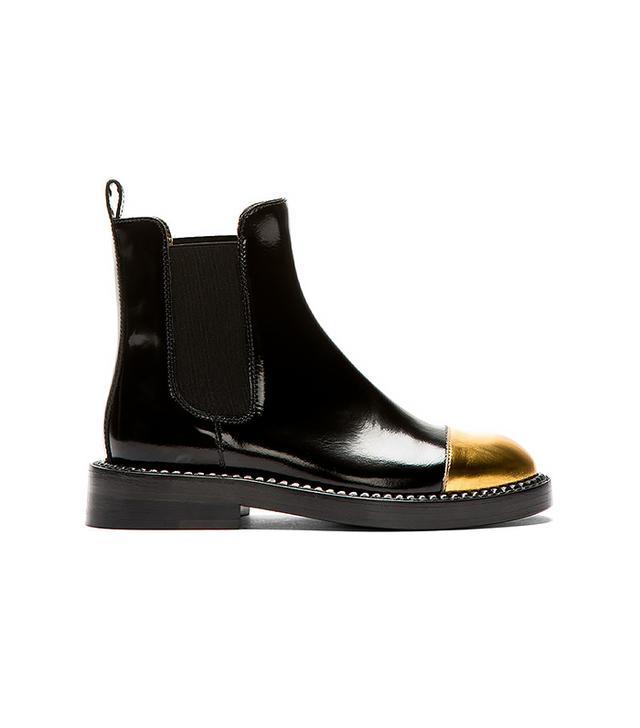 Marni Black Leather Gold Toe Chelsea Boots