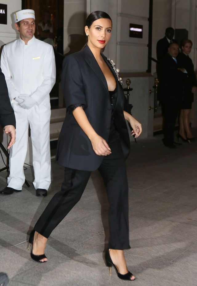 Kim Kardashian in Givenchy blazer, pants, shoes