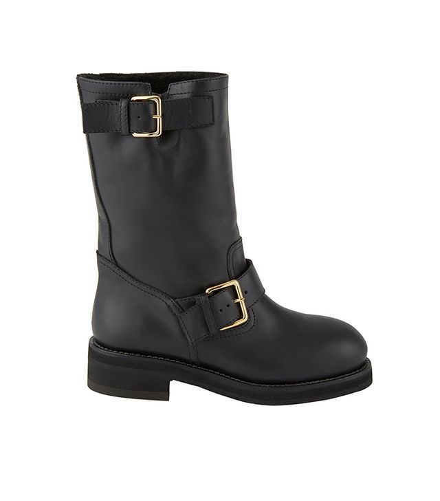 Marni Double-Buckle Shearling-Lined Moto Boots