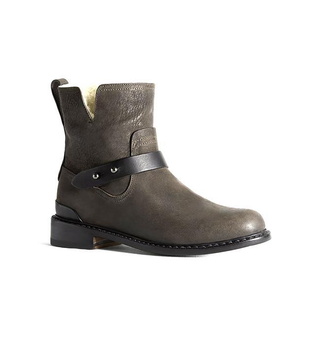 Rag & Bone Ashford Moto Leather & Shearling Flat Ankle Boots