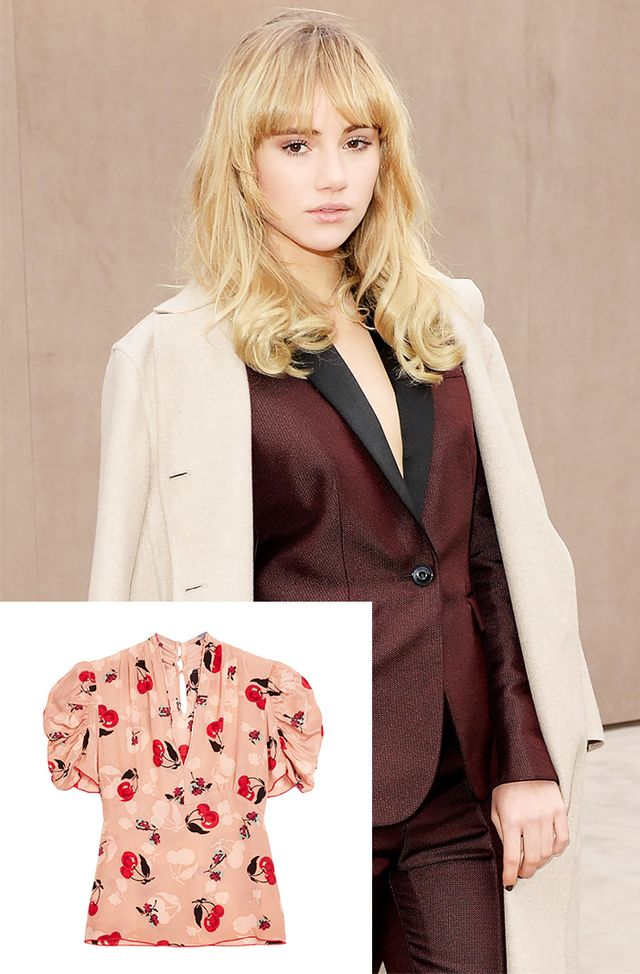 Anna Sui Short Sleeve Cherry Print Blouse