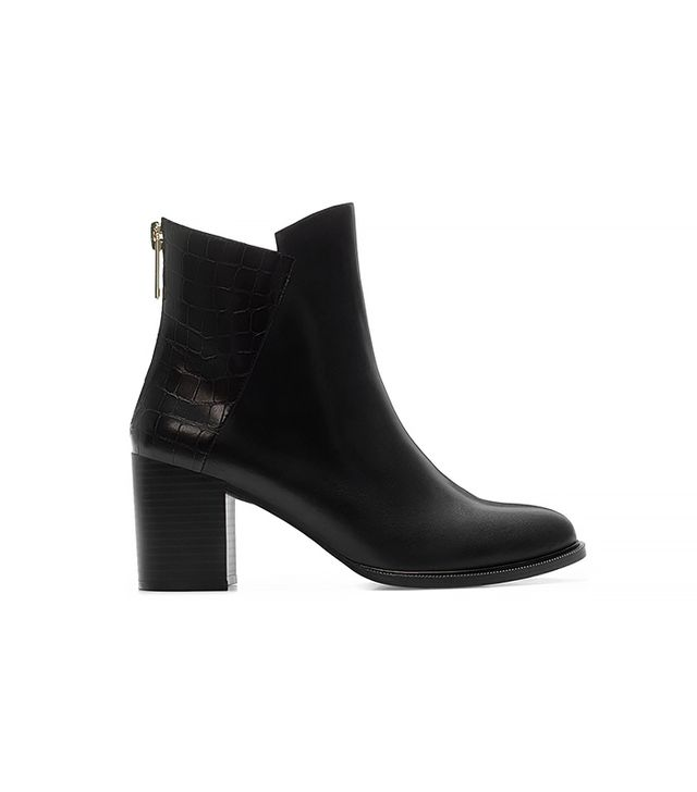Zara Croc Leather Block Heel Bootie