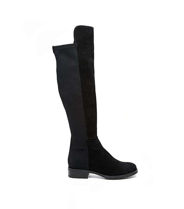 Dune Trishy Black Over The Knee Flat Boots