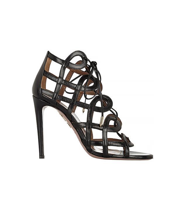 Aquazzura + Olivia Palermo Cutout Leather Sandals