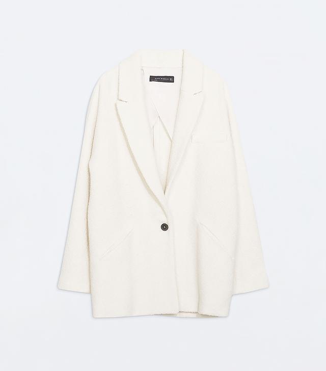 Zara Oversized Structure Three-Quarter Length Coat