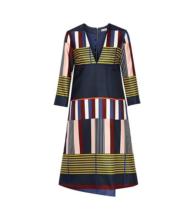 Suno Printed Silk-Satin Wrap-Effect Dress