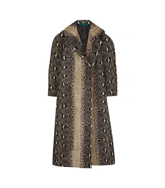 Emilia Wickstead Snake-Print Textured Silk-Sateen Coat