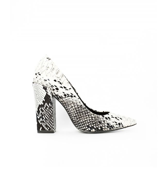 River Island Block Heel Court Snake Print Shoes
