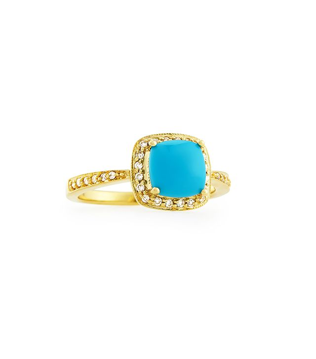 Jude Frances Jewellery Small Princess Turquoise Ring with Diamonds