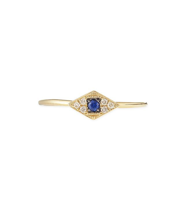 Sydney Evan Yellow Mini White Diamond Evil Eye Ring