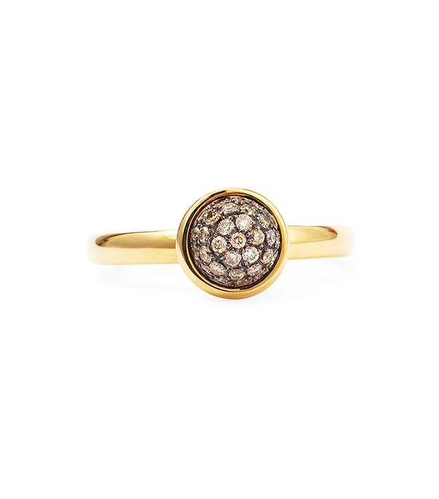 Syna Yellow Gold Stacking Baubles Ring, Champagne Diamond