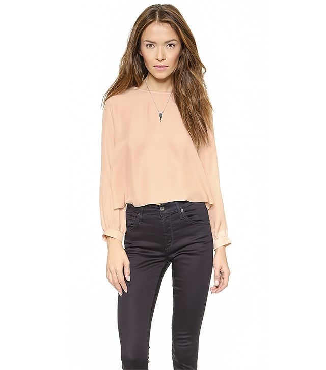 Myne Flint Crop Blouse with Pleated Back