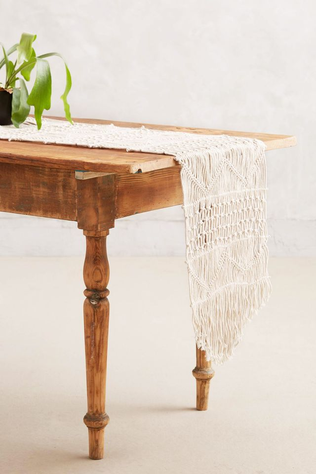 Anthropologie Handwoven Macrame Table Runner