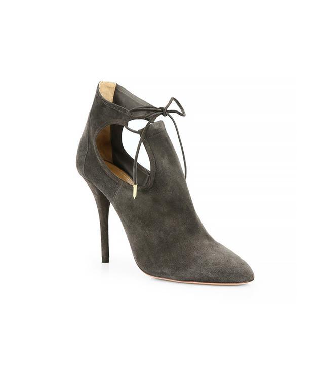 Aquazzurra Babe Suede Cutout Ankle Boots