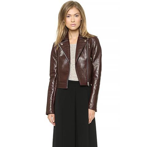 Leather and Fleece Motorcycle Jacket