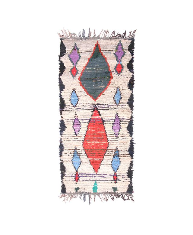 Etsy Cream & Cobalt Moroccan Rag Rug