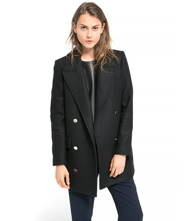 Mango Double-Breasted Wool-Blend Coat