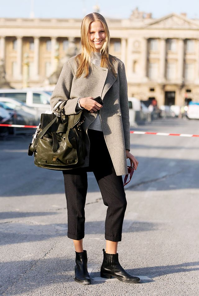 If you're into the idea of showing a little skin in your fall clothes, wear a more cropped trouser with your ankle boots!