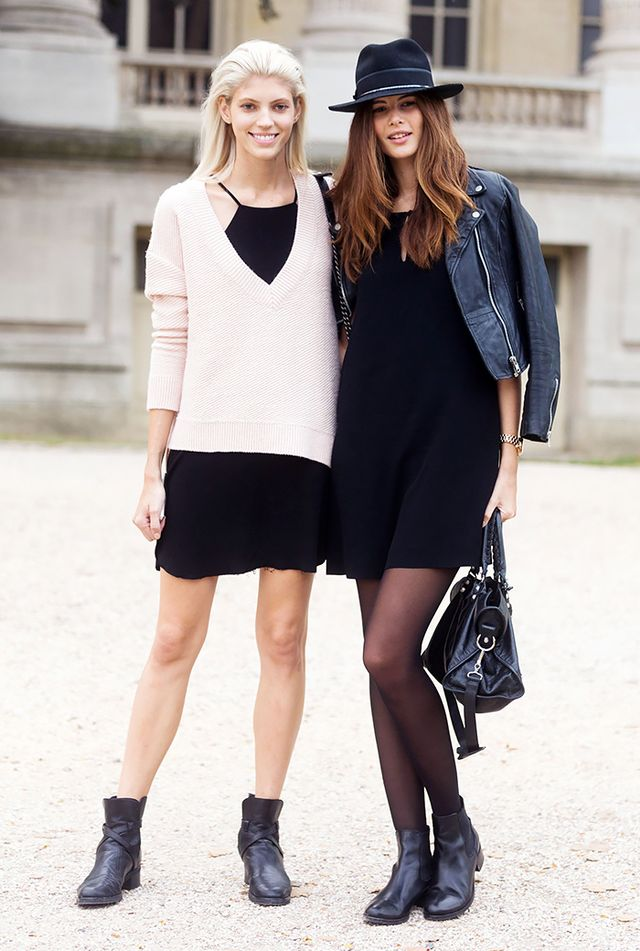 Both these ladies prove that yes, you can wear short skirts and dresses when it's cool out. Toss on a sweater and/or some tights, and you're all ready.