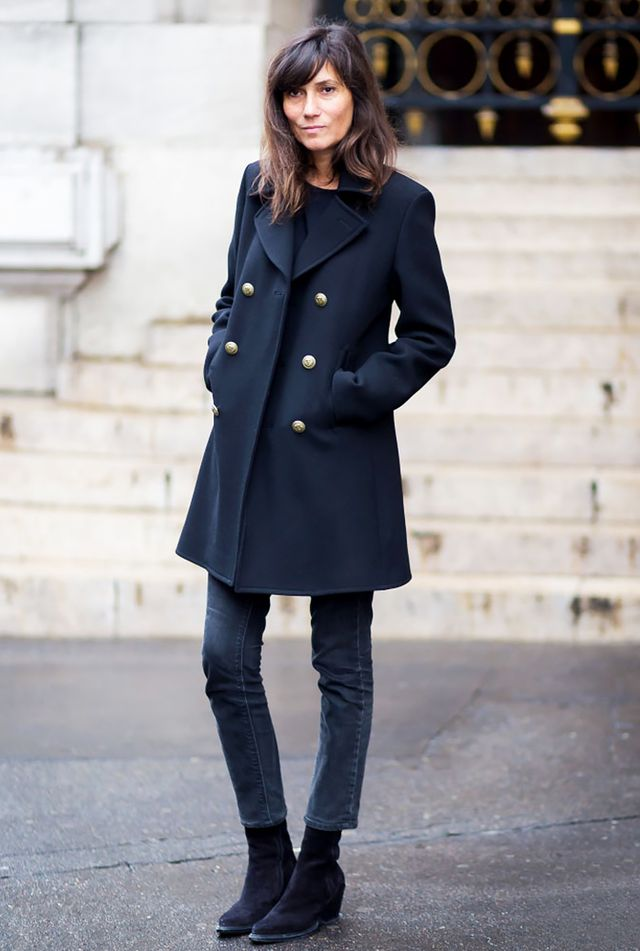 You really can't go wrong with a pair of sleek black ankle boots, a cropped skinny jean, and a classic peacoat.