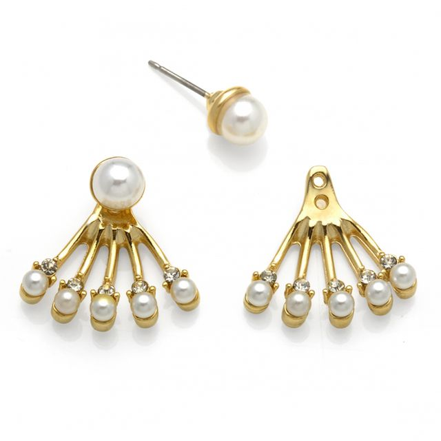 Capwell+Co Pearl and Crystal Front Back Earrings