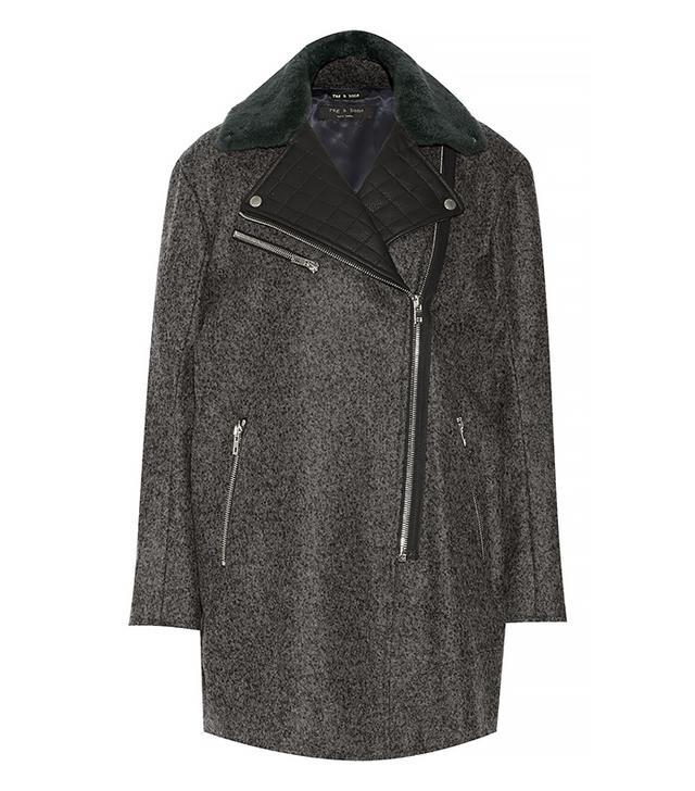 rag & bone Turner Shearling-Trimmed Wool-Blend Coat