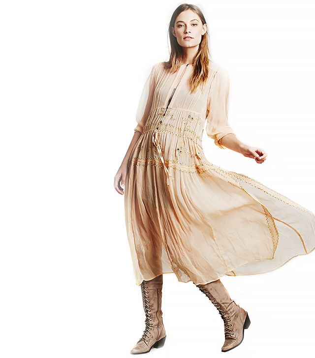 Free People New Romantics Sheer Lurex Maxi Dress