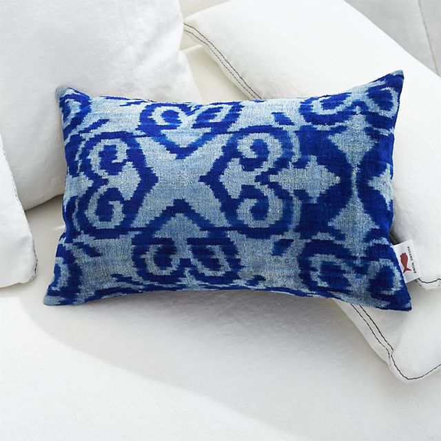 Crate & Barrel Indigo Velvet Pillow
