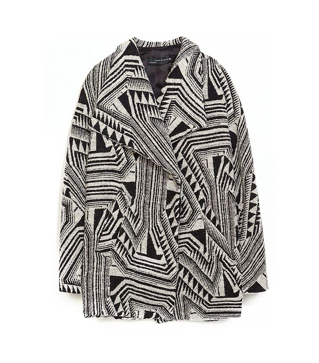 Zara Printed Short Coat with Lapels