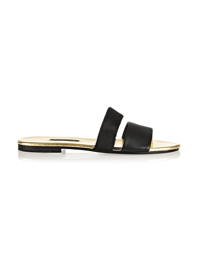 Newbark Roma III Leather and Calf Hair Sandals