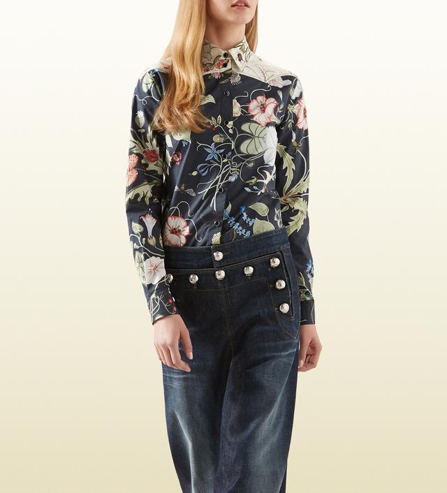 Gucci Flora Knight Print Citton Poplin Shirt