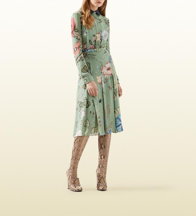 Gucci Flora Knight Print Dress With Denim Collar