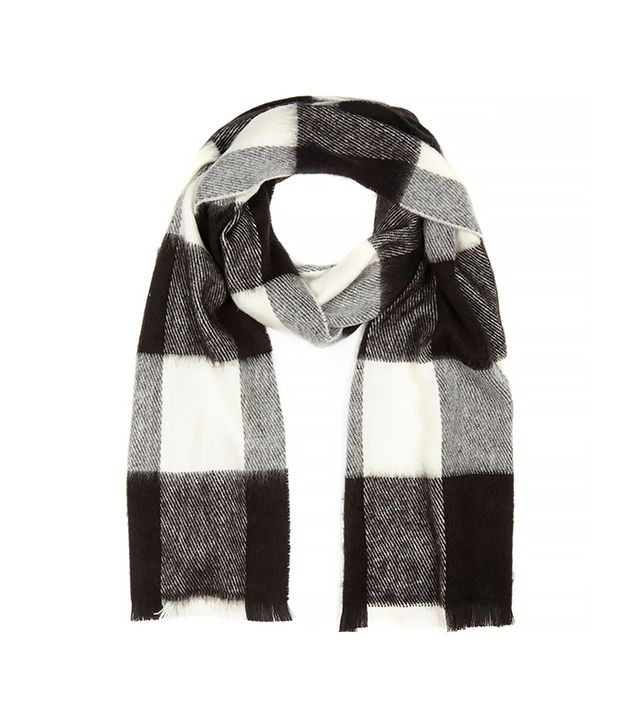 River Island Black Plaid Check Blanket Scarf