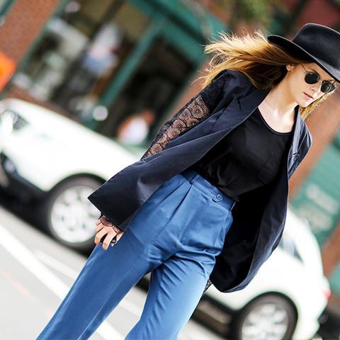 Laced blazer street style