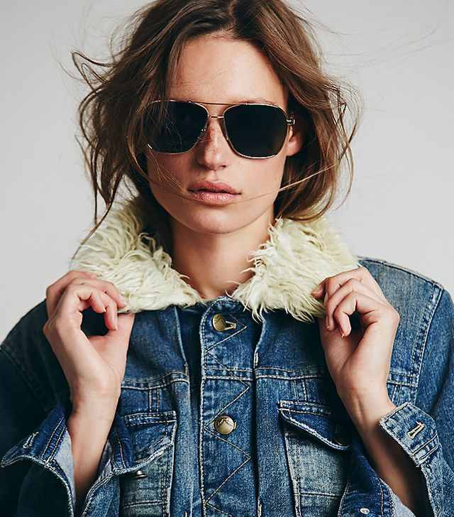 Free People Fever Aviator in Gold