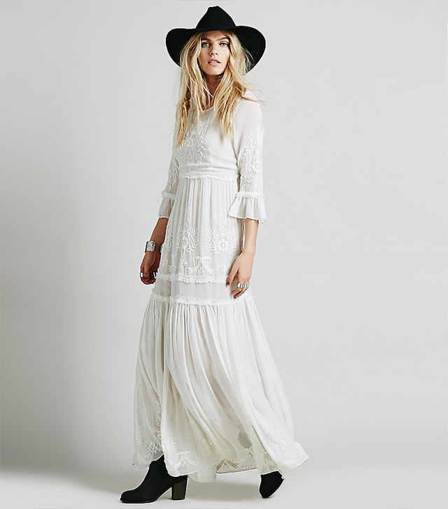 Free People People Romance Embroidered Maxi in White