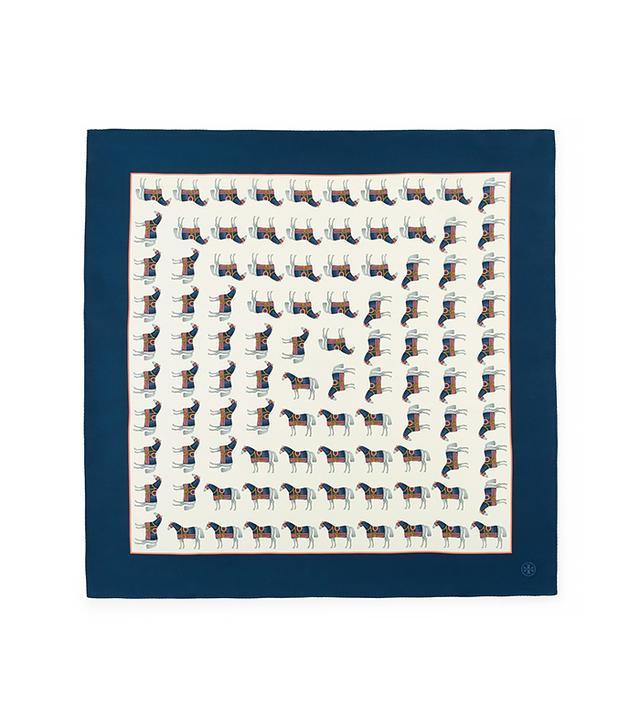 Tory Burch Horse-Print Square Scarf