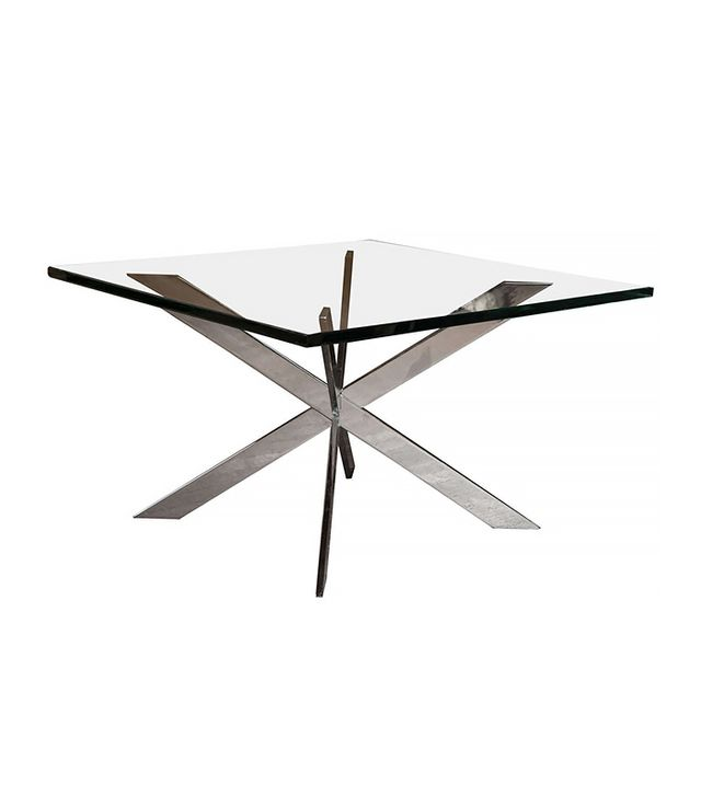 1st Dibs Vintage Double X Chrome Coffee Table with Glass Top