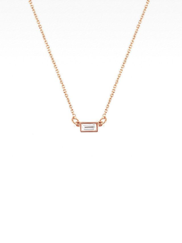 Vrai and Oro Baugette Diamond Necklace