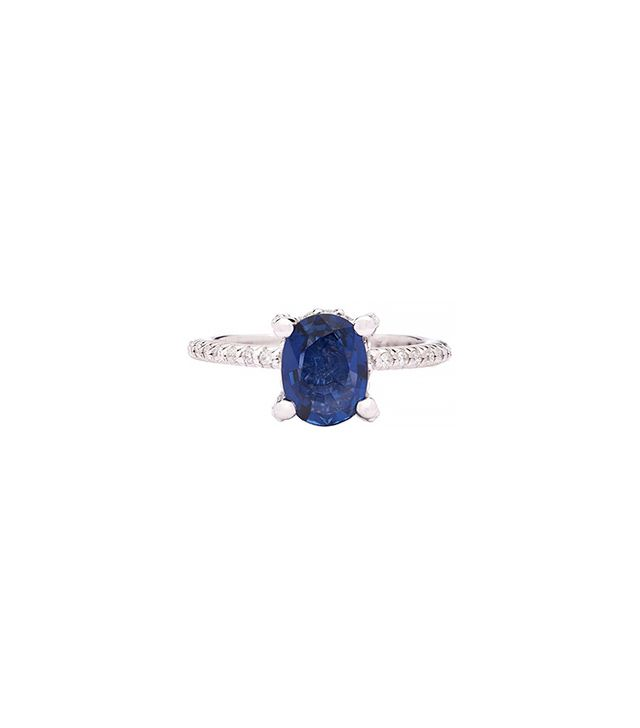 66 Mint Blue Sapphire Solitaire Diamonds White Gold Ring