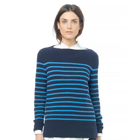 Breton Stripe Cashmere Crew Neck Sweater