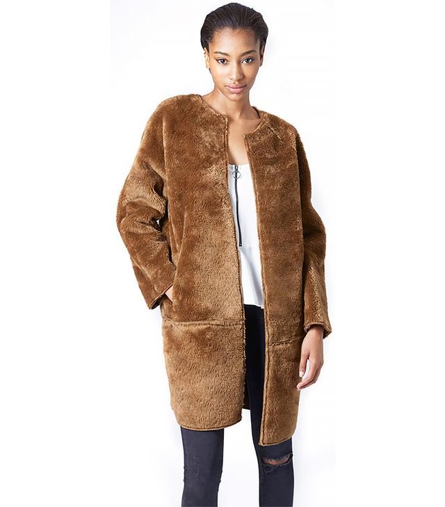 Topshop Faux Fur Bonded Throw-On Coat