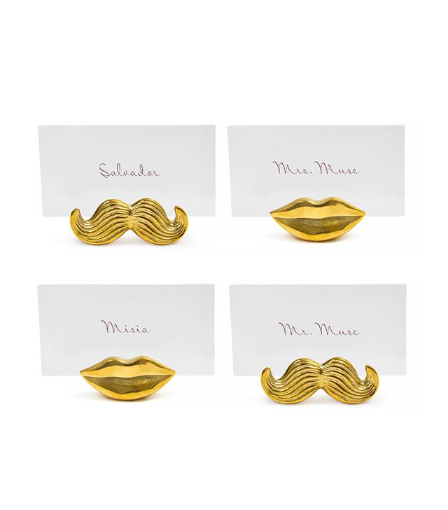 Jonathan Adler Brass Mr. & Mrs. Muse Place Card Holders (set of 4)