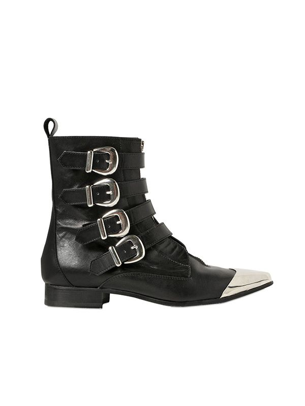 Diesel Black Gold Metal Toe Leather Boots