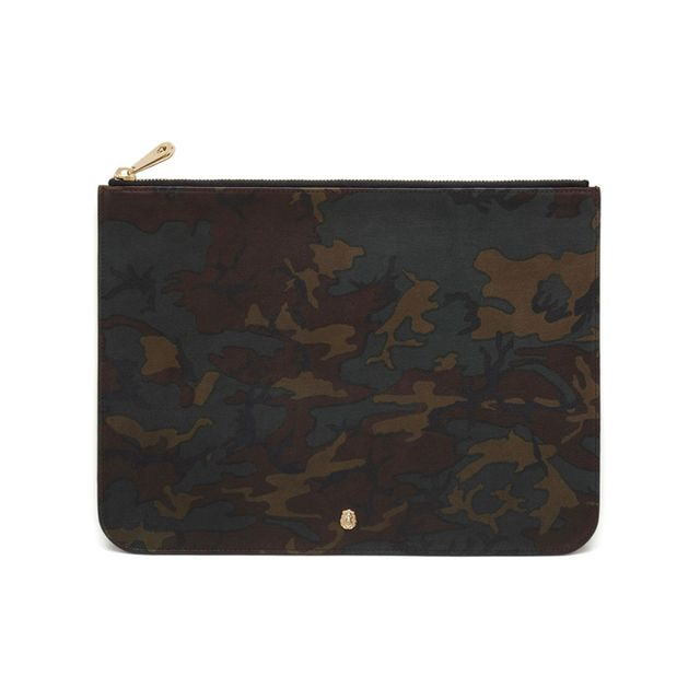 Mulberry Cara Delevingne Large Pouch Khaki Camo Printed Goat