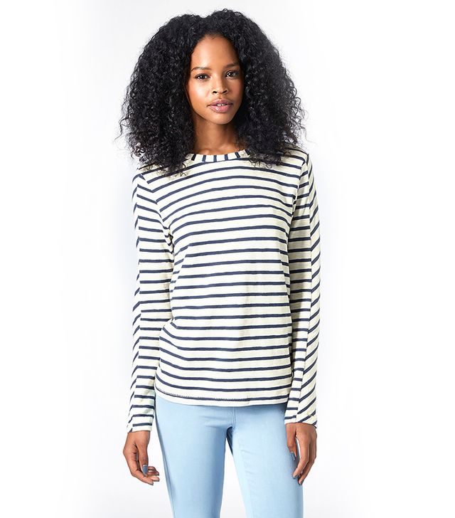 Topshop Long-Sleeve Striped Top