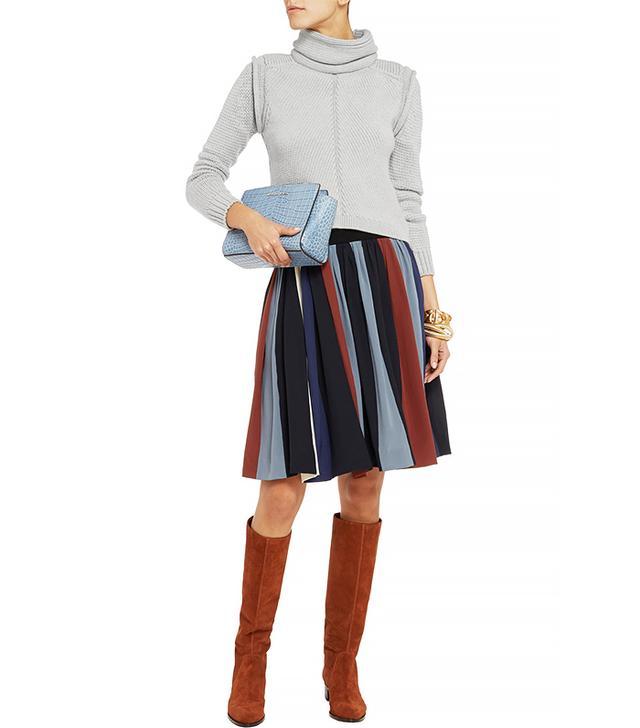 Chloé Striped Silk Crepe de Chine Skirt