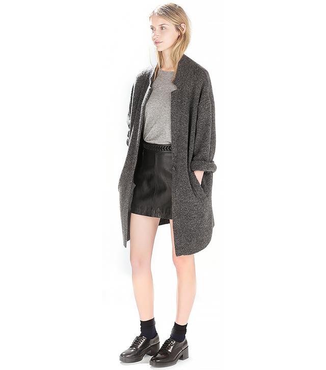 Zara Leather Skirt with Braided Belt