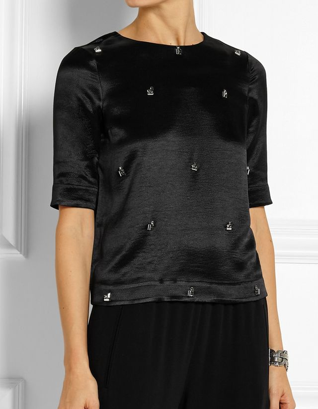 Elizabeth and James Piper Crystal-Embellished Hammered-Satin Top