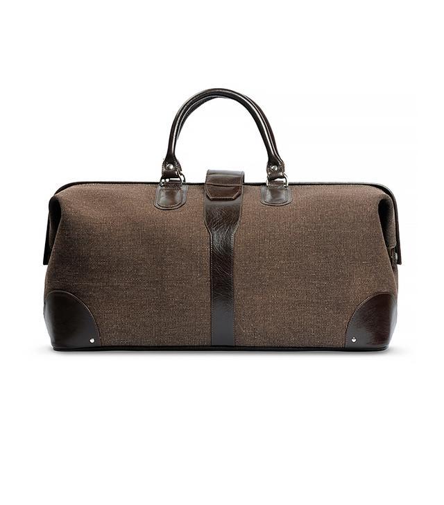 Nappa Dori Brown Canvas Doctor Bag